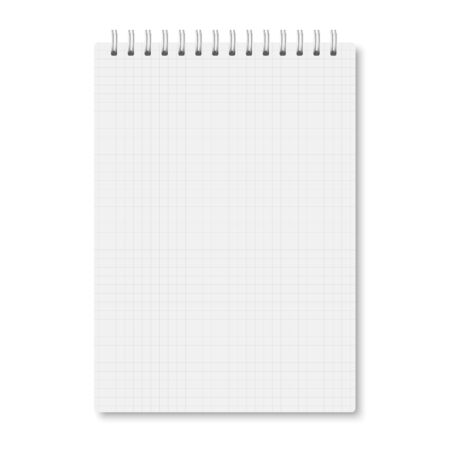 White realistic a5 notebook closed with soft shadows. Vector vertical blank copybook with metallic white spiral on white background. Mock up of cell lined organizer or diary isolated.