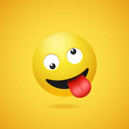 Happy smiling crazy emoticon with stuck out tongue on yellow gradient background. Vector funny yellow cartoon Emoji icon. 3D illustration for chat or message.