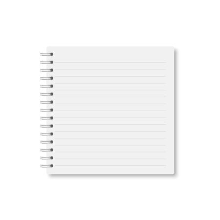 White realistic a5 notebook closed with soft shadow. Vector square blank copybook with metallic white spiral on white background. Mock up of horizontal lined organizer or diary isolated.