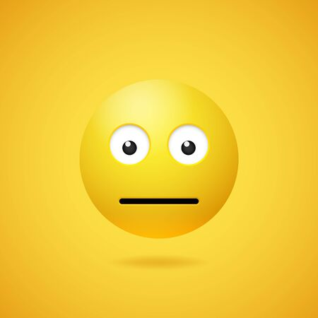 Vector yellow neutral emoticon with opened eyes and mouth on white background. Funny cartoon poker face Emoji icon. 3D illustration for chat or message.
