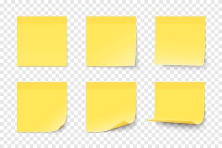 Set of vector yellow paper adhesive stickers on transparent background. Six realistic sticky notes isolated. Various blank sheets with curled up corners.