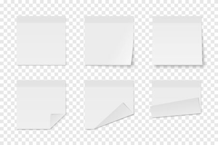 Set of vector white paper adhesive stickers on transparent background. Six realistic sticky notes isolated. Various blank sheets with folded corners. 矢量图像