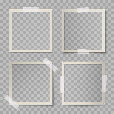 Vector set of beige square photo card frames with various lighting effect and shadows on transparent background. Collection of glued with adhesive tape vintage mockup of photo card 矢量图像