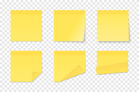 Set of vector yellow paper adhesive stickers on transparent background. Six realistic sticky notes isolated. Various blank sheets with folded corners. 矢量图像