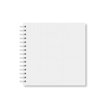 White realistic a5 notebook closed with soft shadow. Vector square blank copybook with metallic white spiral on white background. Mock up of horizontal cell lined organizer or diary isolated.