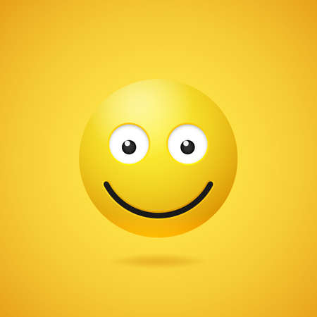 Happy smiling emoticon with opened eyes and mouth on yellow gradient background. Vector funny yellow cartoon Emoji icon. 3D illustration for chat or message.