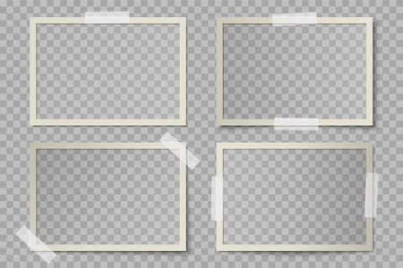 Vector set of beige rectangular photo card frames with various lighting effect and shadows on transparent background. Collection of glued with adhesive tape vintage mockup of photo card Stock fotó - 151372170