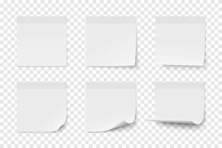 Set of vector white paper adhesive stickers on transparent background. Six realistic sticky notes isolated. Various blank sheets with curled up corners.