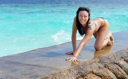 Sexy young brunette woman in a bikini crawling along a sea wall with clear blue water after enjoying a refreshing swim Stock Photo - 15785487