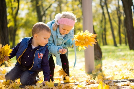 Beautiful young boy and girl gathering fallen yellow leaves in beautiful autumn setting