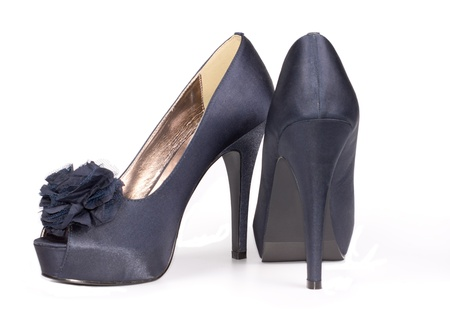 open toe: Elegant blue female satin effect shoes with an open toe, floral decoration and high stiletto heel for formal wear
