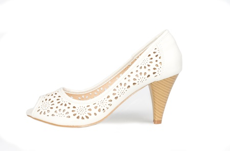open toe: Ladies white open toe leather court shoe with cut out pattern detail and wooden high heel for formal wear on a white background