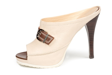 open toe: Cream open back textile ladies platform shoe with an open toe, buckle decoration and stiletto heel, side view of white