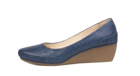 Ladies classic blue leather court shoe with a medium wedge heel, side view on a white background Stock Photo - 17420008