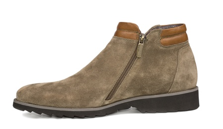 Stylish simple mens suede and leather ankle high shoe in beige with a low heel for everyday casual wear on white photo