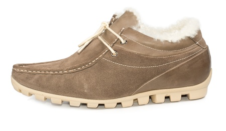 Fur lined tan suede leather casual mens shoe with a moulded sole and laces for everyday winter casual wear, side view on white photo