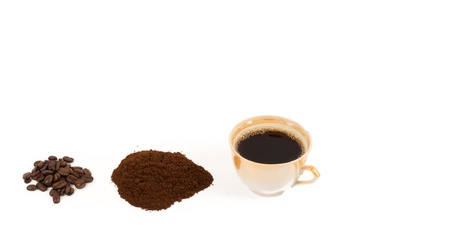 cip: Freshly brewed cip of coffee and its ingredients with whole roasted coffee beans and a pile of freshly ground coffee isolated on white Stock Photo
