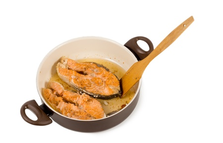 High angle view of a kitchen pan Preparing a gournmet salmon steak Stock Photo - 18015079