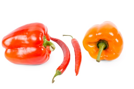 flavouring: Red and orange sweet bell peppers and two red hot chilli peppers isolated on white for use as seasoning and flavouring in salads and cooking