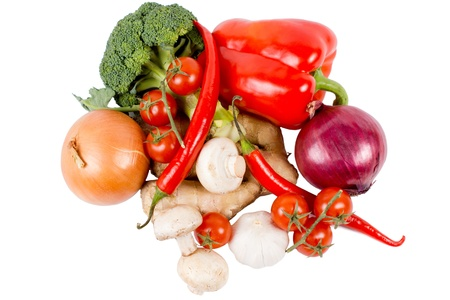 Assortment of fresh whole mixed fresh farm vegetables for used as ingredients in cooking isolated on a white background Stock Photo - 18523738