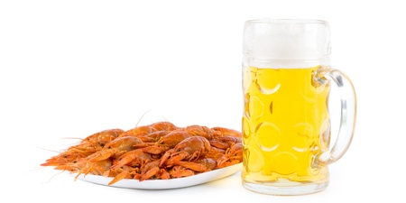 Shrimps on plate with a full beer mug on white background photo