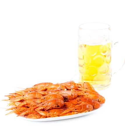 Serving of delicious cooked whole pink prawns on a plate for a gourmet seafood meal served with a pint of beer on a white background photo