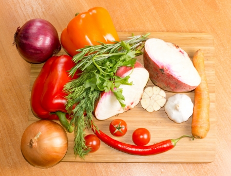Veggies and spices with chili, carrots, onion, tomatoes and garlic Stock Photo - 18572651