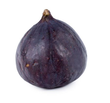 purple fig: Single large juicy ripe purple fig for a healthy diet, also used as a laxative treatment, on a white background