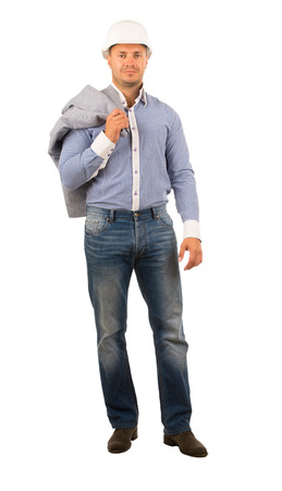 unemotional: Middle Age Building Designer in White Helmet and Checkered White Blue Long Sleeves Polo Looking at Camera while Carrying Gray Coat on Shoulder. Isolated on White.