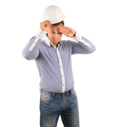 unemotional: Man in Studio Wearing Hard Hat and Wiping Forehead with Hand Standing in front of White Background