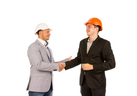 Middle Age Happy Client and Engineer Shaking Hands Isolated on White Background. photo