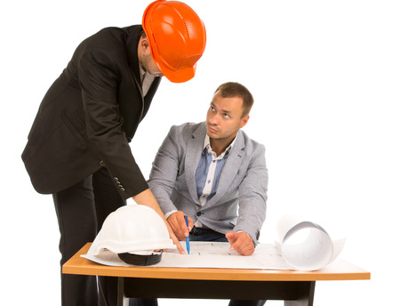 feasibility: Architect discussing a plan with a building inspector as they debate the feasibility of a project design, isolated on white