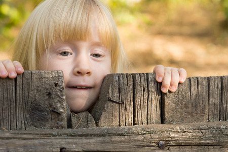 Pretty little blond girl peering over an old rustic wooden fence with a thoughtful expression 版權商用圖片
