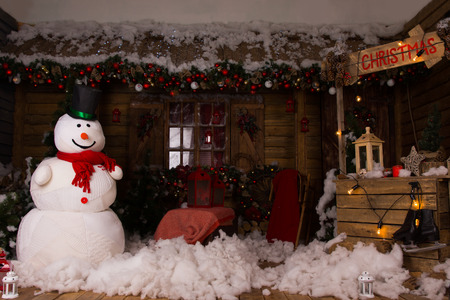 attractive christmas decoration inside a wooden house with large stock photo picture and royalty free image image 33934078