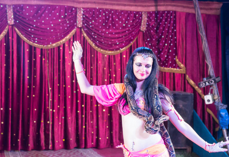 animal head: Waist Up of Exotic Dark Haired Belly Dancer with Large Snake Around Shoulders, Dancing on Stage with Red Curtain in Background