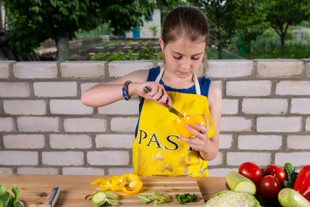 paring knife: Young girl cleaning out a sweet pepper removing the pith with a paring knife as she prepares an assortment of fresh vegetables Stock Photo
