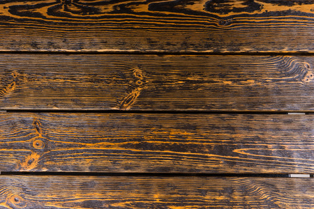 wall covering: Old worn textured wood background with a strong woodgrain pattern in planks for a floor or wall covering, full frame