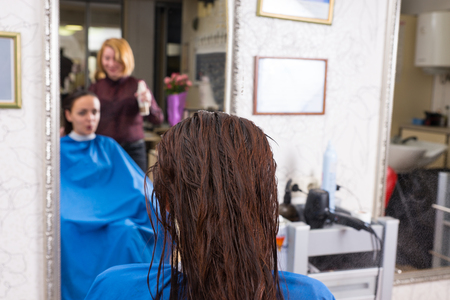 atomiser: Close Up Rear View of Brunette Woman with Wet Hair Sitting in Chair in Salon with Reflection of Stylist and Woman in Mirror in Background