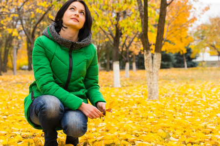 squatting down: Young woman enjoying the bright yellow autumn leaves on the trees in the park squatting down on her haunches looking up into the branches