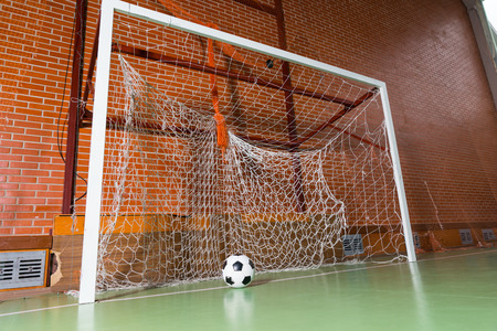 all weather: Low angle view of a soccer ball in a goal post on an all weather green indoor court in a brick building