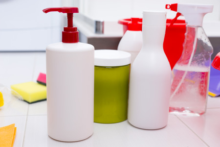 atomiser: Assortment of household cleaning products in a variety of containers, spray bottles and pumps in a hygiene and housework concept Stock Photo