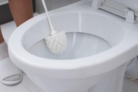 defecate: Woman cleaning a toilet bowl with a brush in a close up view conceptual of household hygiene and cleanliness