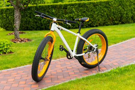 Orange modern sport bicycle parked on a footpath in a park Stock Photo