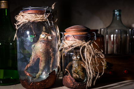 Dead creatures with bulging eyes inside a pair of mason jars sealed with string in dark room