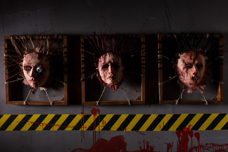 ghoulish: Awful ghastly skins from human heads stuck in square frames above yellow and black warning symbol