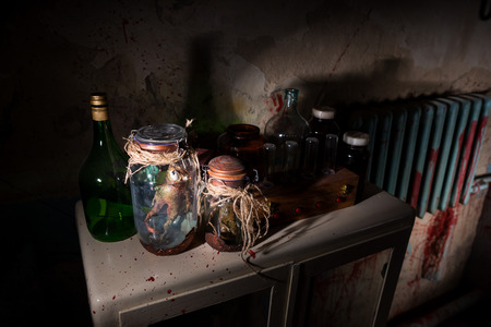 shrunken: Awful creatures with bulging eyes inside a pair of jars sealed with string between glass bottles with blood spattered wall in dark room in a Halloween horror concept Stock Photo
