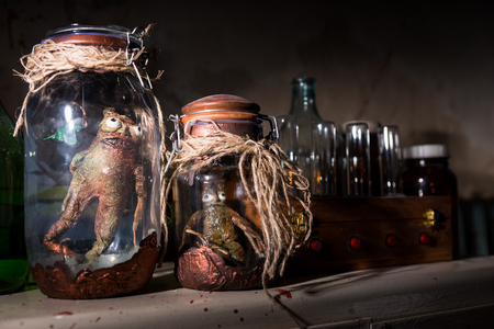 Close up of dead creatures with bulging eyes inside a pair of jars sealed with string between glass bottles with blood spattered wall in dark room in a Halloween horror concept Stock Photo