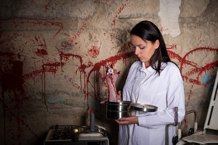 woman eyeball: Woman holding a severed hand and eyeball in a box in front of a blood splattered wall, Halloween concept Stock Photo