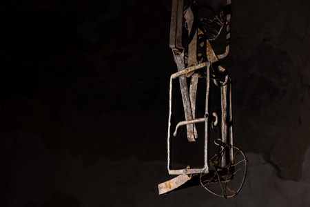 grisly: Close up of a trap hanging in basement in a Halloween horror concept