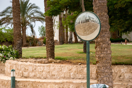 Traffic convex mirror for safety driving in front of the yard with palm trees, bushes and flowers